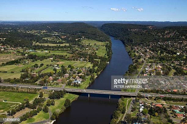 Aerial view of Nepean River, Penrith, New South Wales, Australia