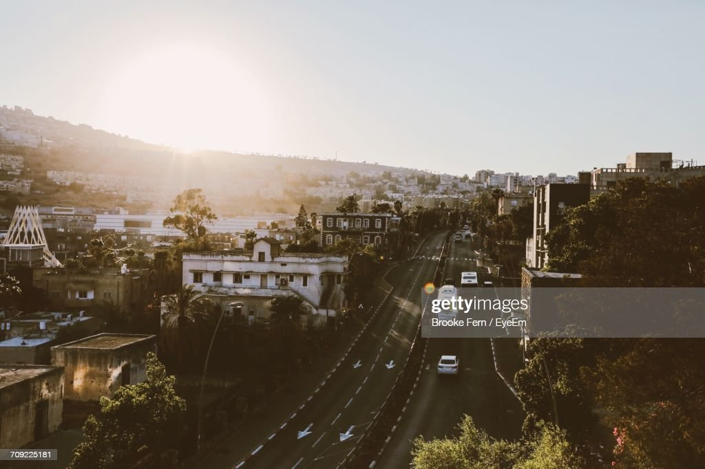 Aerial View Of Netanya Against Clear Sky : Stock Photo