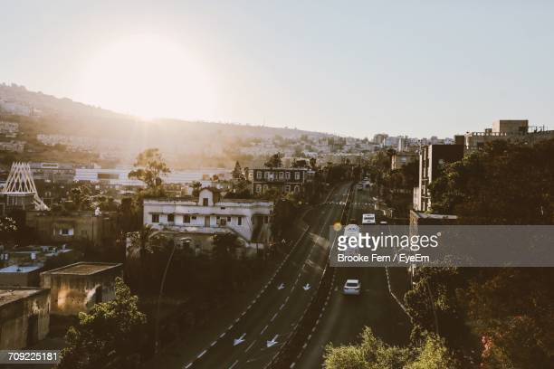 aerial view of netanya against clear sky - tulsa stock pictures, royalty-free photos & images