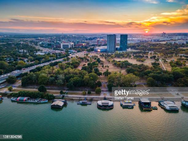 aerial view of new belgrade area in the capital city of serbia - serbia stock pictures, royalty-free photos & images