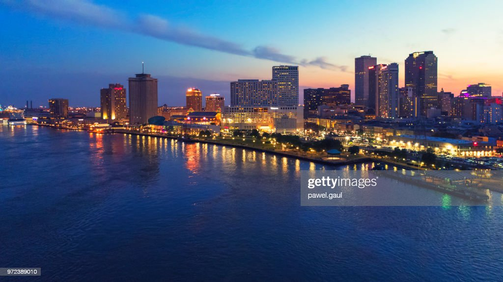 日没で、ルイジアナ州ニューオーリンズの空中を表示 : ストックフォト