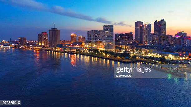 aerial view of new orleans at sunset, louisiana - new orleans french quarter stock photos and pictures
