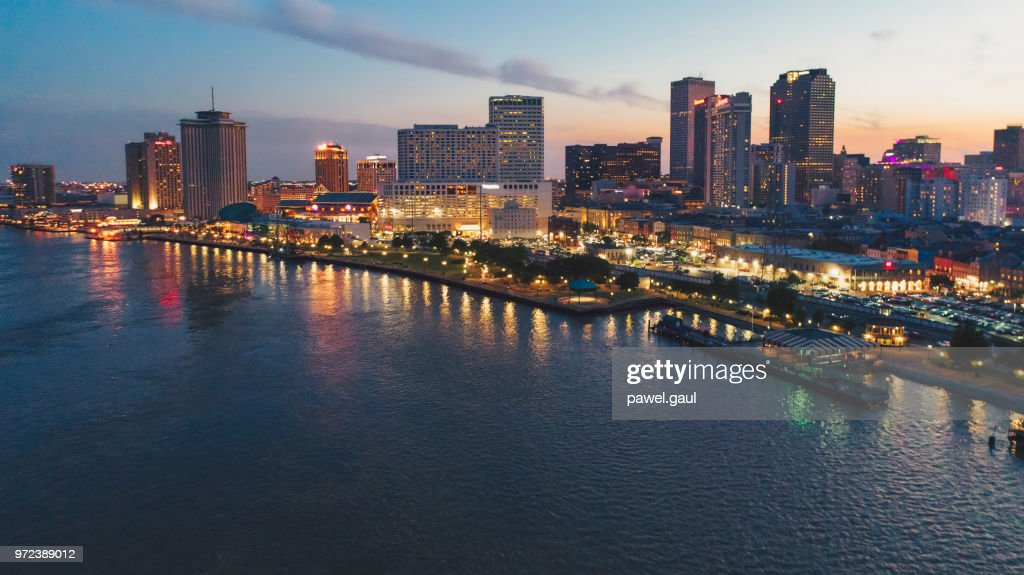 Aerial view of New Orleans at sunset, Louisiana : Stock Photo