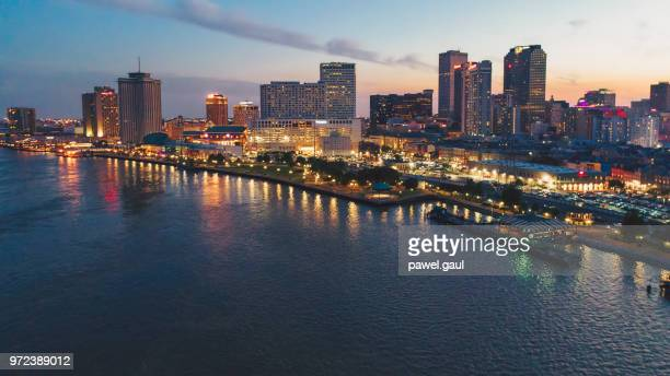 Aerial view of New Orleans at sunset, Louisiana