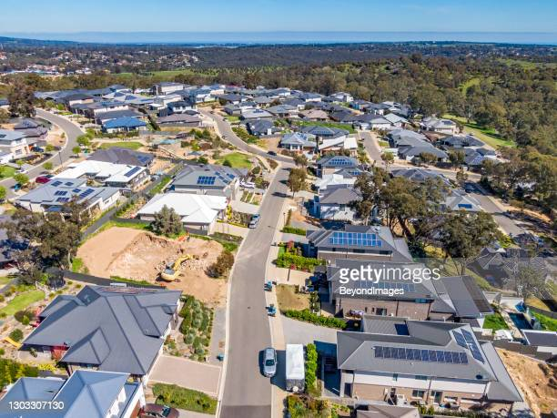 aerial view of new wealthy homes in adelaide foothills - housing development stock pictures, royalty-free photos & images