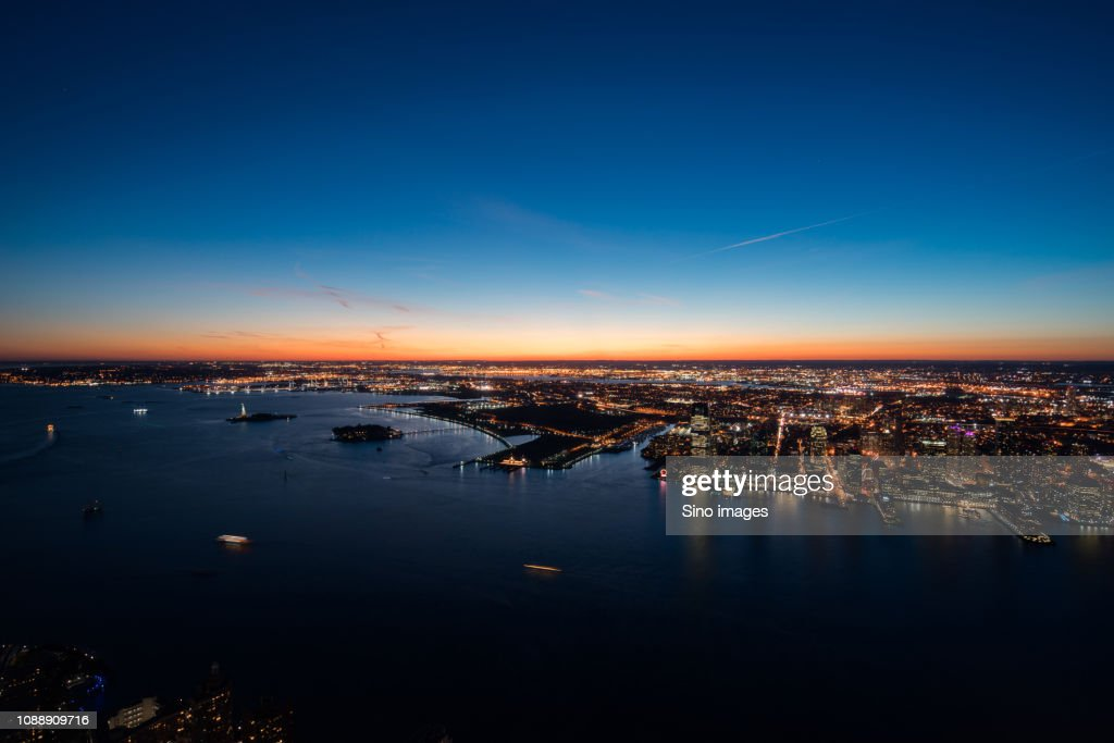 Aerial view of New York at dusk, USA : Stock Photo