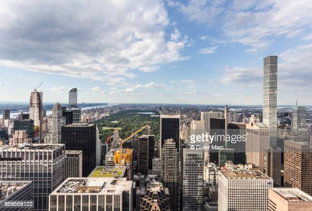 aerial view of new york city and central park - didier marti stock photos and pictures