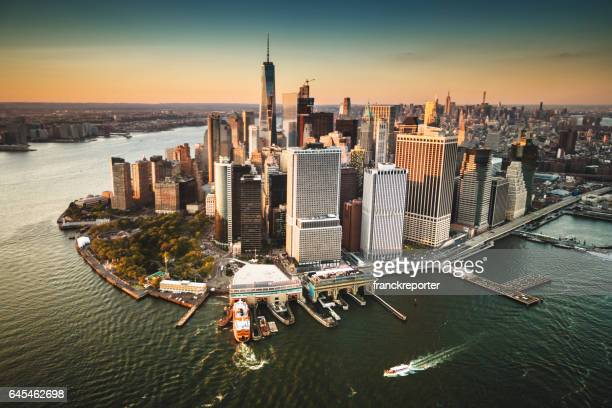 aerial view of new york city at dusk - lower manhattan stock photos and pictures