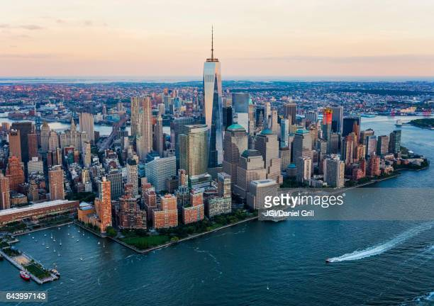 Aerial view of New York City cityscape, New York, United States