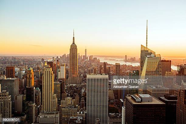 Aerial view of New York City during sunset