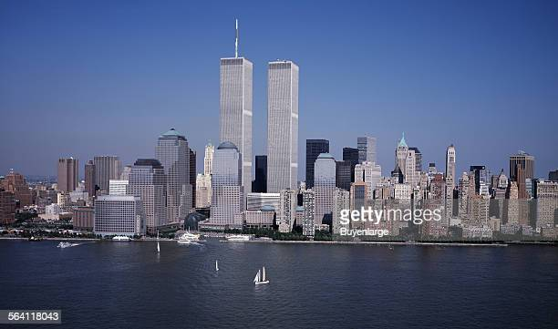 Aerial view of New York City in which the World Trade Center Twin Towers is prominent