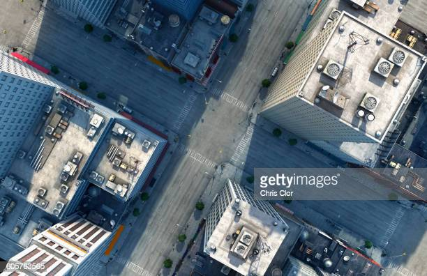 aerial view of new york city intersection, new york, united states - aerial view stock-fotos und bilder