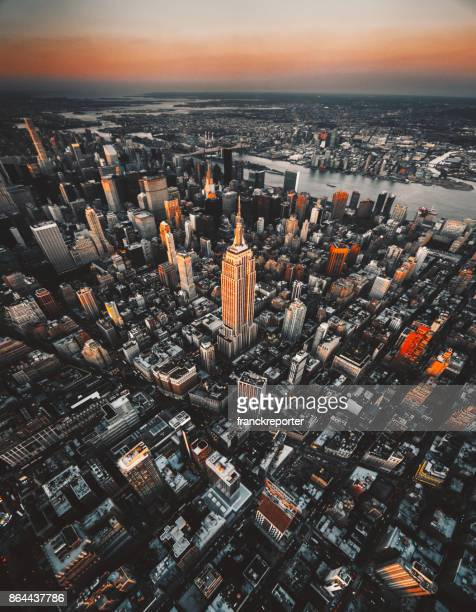 aerial view of new york city - midtown manhattan stock pictures, royalty-free photos & images