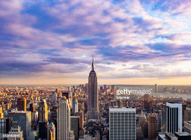 Aerial view of New York City Skyline at Sunset