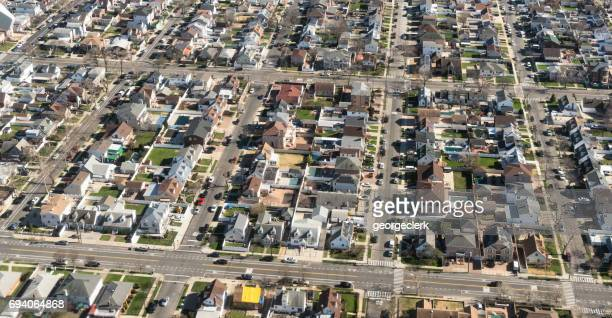 aerial view of new york city suburbs - long island stock pictures, royalty-free photos & images