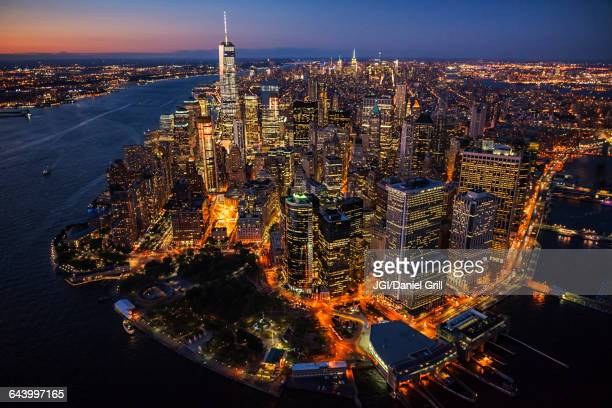 Aerial view of New York cityscape at night, New York, United States