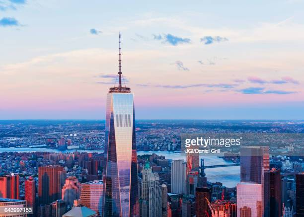 aerial view of new york cityscape, new york, united states - one world trade center stock pictures, royalty-free photos & images