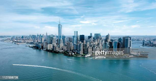 aerial view of new york - hudson river stock pictures, royalty-free photos & images