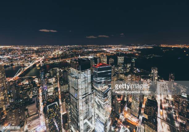 Aerial View of New York Skyline at Night