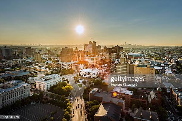 aerial view of newark, new jersey - new jersey stock pictures, royalty-free photos & images