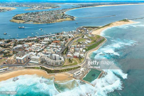 aerial view of newcastle beach - newcastle new south wales stock pictures, royalty-free photos & images