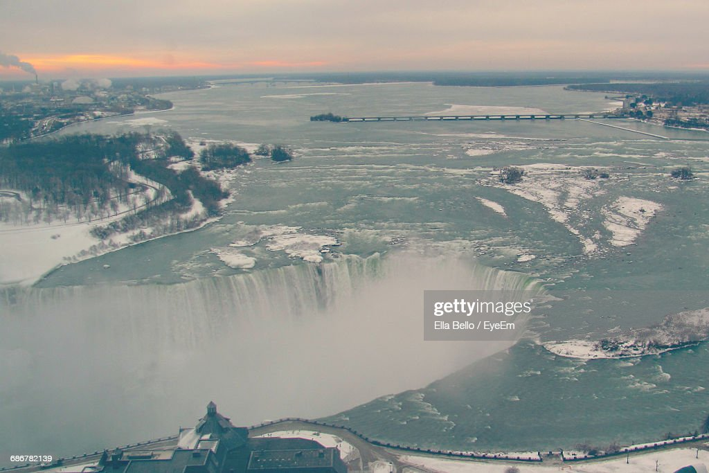 Aerial View Of Niagara Falls Against Sky During Sunset : Stock Photo