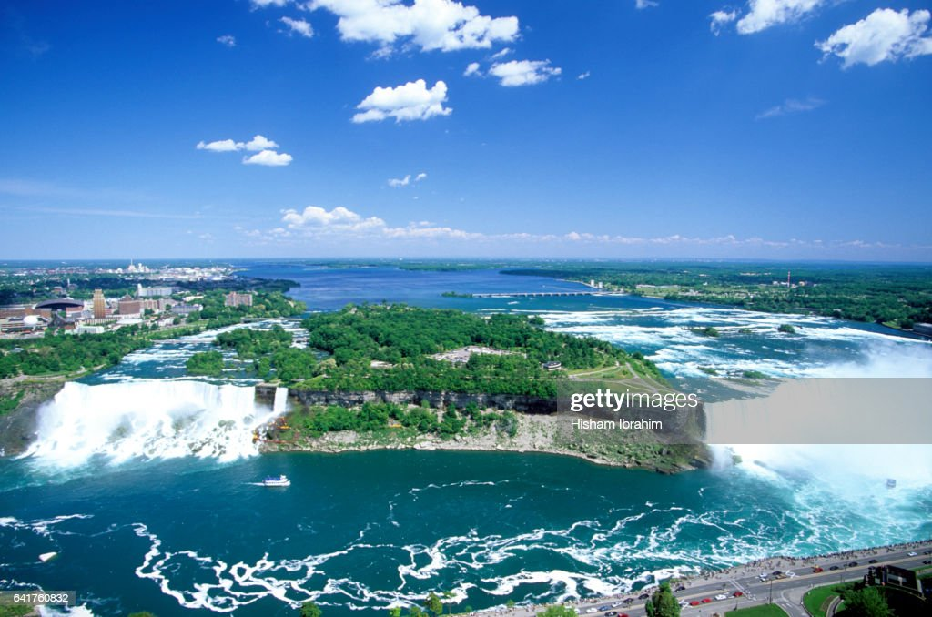Aerial view of Niagara Falls and American Falls on both the Canadian side and the American Side showing Lake Erie. : Stock Photo