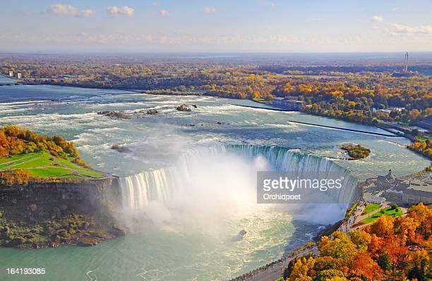 aerial view of niagara falls in autumn - falling water stock photos and pictures