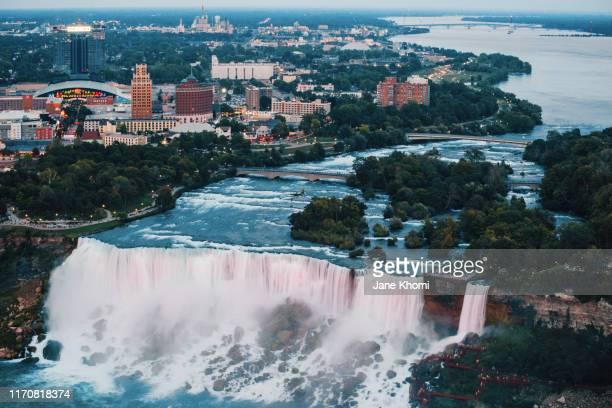 aerial view of niagara falls - niagara falls stock pictures, royalty-free photos & images