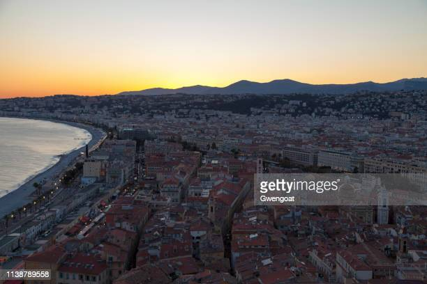 Aerial view of Nice at sunset