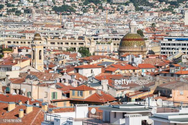 aerial view of nice city, france - nice france stock pictures, royalty-free photos & images