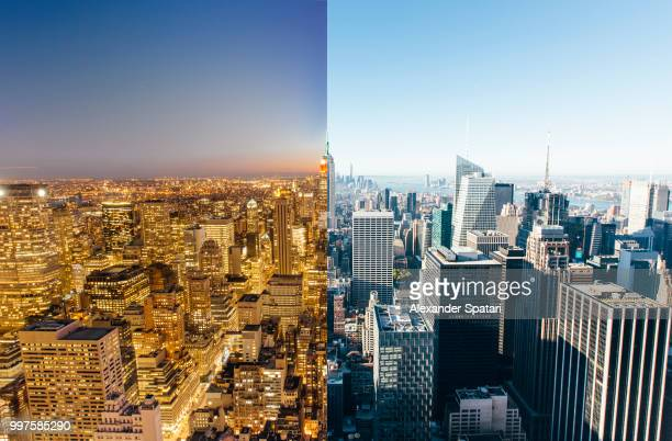 Aerial view of night and day change in New York City, NY, USA