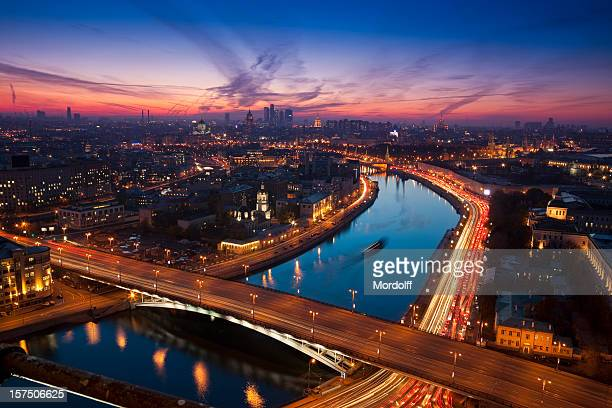 aerial view of night moscow - moscow russia stock pictures, royalty-free photos & images