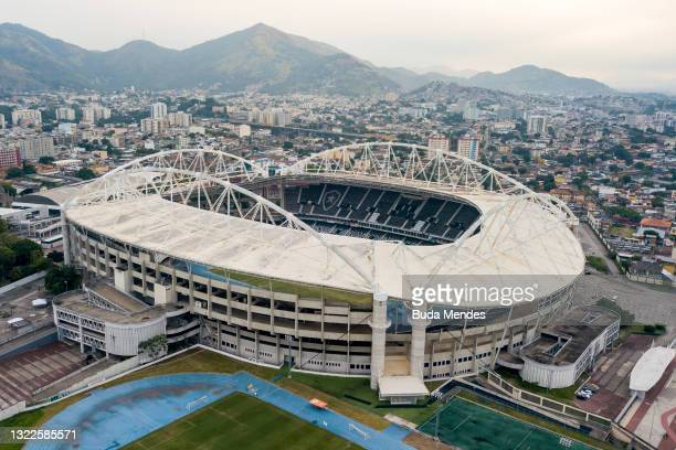 Aerial view of Nilton Santos stadium ahead of Copa America Brazil 2021 on June 08, 2021 in Rio de Janeiro, Brazil. After a controversial decision,...