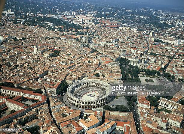 Aerial view of Nimes the city with the arena LanguedocRoussillon France