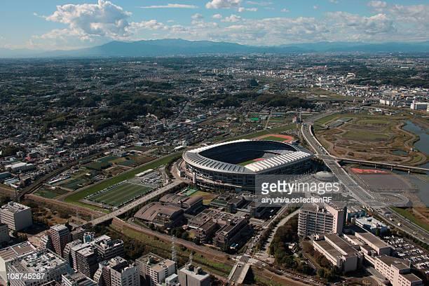 aerial view of nissan stadium, yokohama city, kanagawa prefecture, honshu, japan - transporte assunto - fotografias e filmes do acervo
