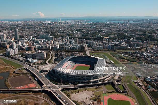 aerial view of nissan stadium, yokohama city, kanagawa prefecture, honshu, japan - yokohama stock photos and pictures