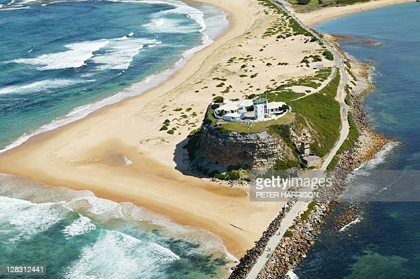 aerial view of nobbys head, newcastle, nsw, australia - new south wales stock pictures, royalty-free photos & images