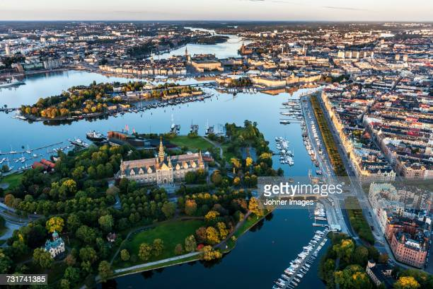 aerial view of nordic museum, stockholm, sweden - djurgarden stock pictures, royalty-free photos & images