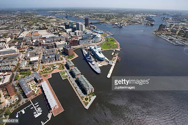 aerial view of norfolk, virginia - norfolk virginia stock photos and pictures