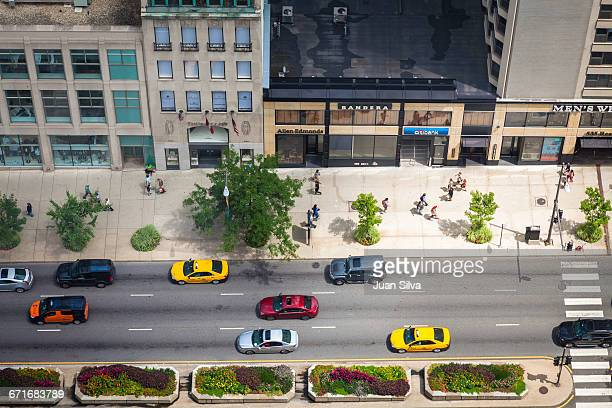 Aerial view of North Michiogan Ave, Chicago, Illin