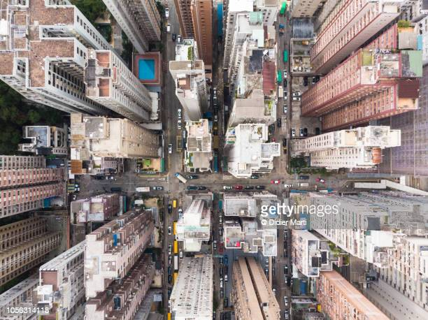 Aerial view of North Point district in Hong Kong
