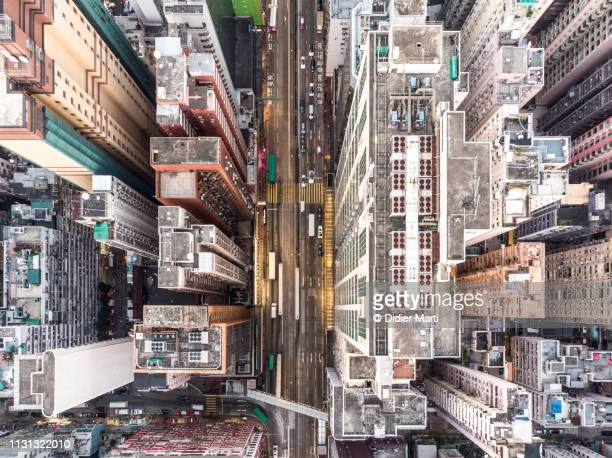 aerial view of north point district in hong kong - housing difficulties stock pictures, royalty-free photos & images