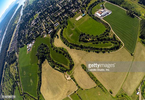 Aerial view of northern Langley BC