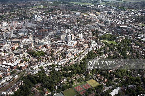 aerial view of nottingham city centre - nottingham stock pictures, royalty-free photos & images