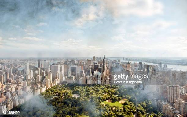 Aerial view of NYC and Central Park with misty sky