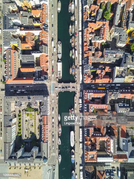 Aerial view of Nyhavn (New Harbour) at dawn, Copenhagen, Denmark. Taken by drone from straight above.