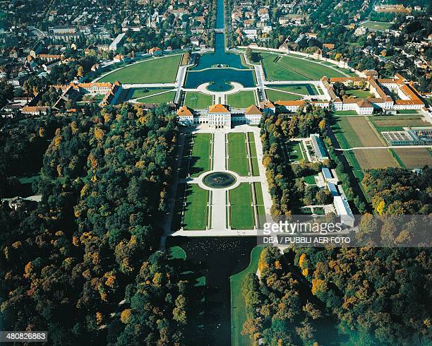 Aerial view of Nymphenburg Castle 17th century Munich Bavaria Germany