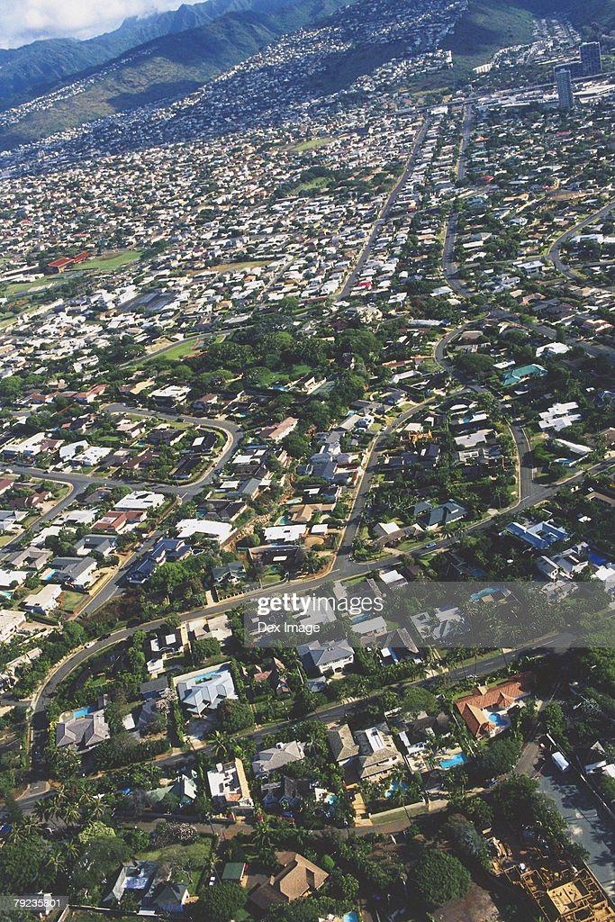 Aerial view of Oahu, Hawaii : Stock Photo
