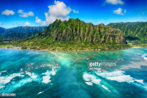 aerial view of oahu hawaii - oahu stock pictures, royalty-free photos & images